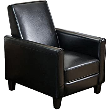 Attirant Best Selling Davis Leather Recliner Club Chair, Black