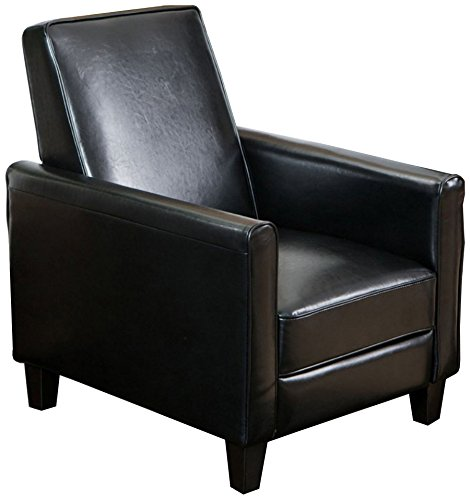 Best Selling Davis Leather Recliner Club Chair, Black