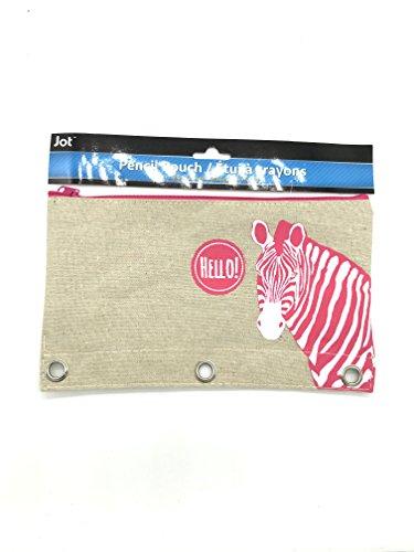 Linen Zippered 3 Ring Pencil Holder Pouch Animal Design (Pink Zebra)