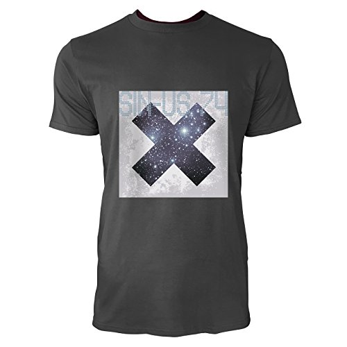 SINUS ART® Grunge Space Kreuz Herren T-Shirts in Smoke Fun Shirt mit tollen Aufdruck
