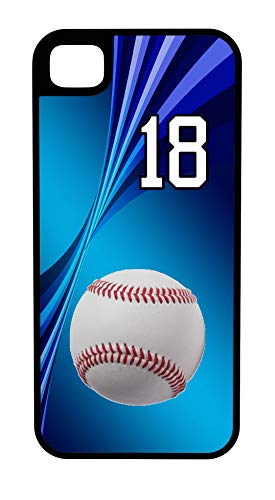 (iPhone 7 Plus 7+ Case Baseball Banjo Hitter Customizable Tough Case by TYD Designs in Black Plastic and Black Rubber with Team Number 18)