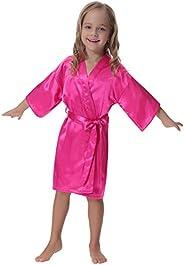 Aibrou Kids' Satin Kimono Robe Bathrobe Nightgown for Spa Party Wedding Birt