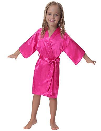 Aibrou Kids' Satin Kimono Robe Bathrobe Nightgown For Spa Party Wedding (Satin Wrap Robe)