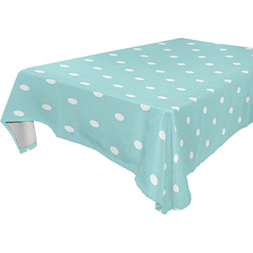 BAIHUISHOP White Polka Dot Pattern Floral Print Tablecloth Rectangular Polyester Wedding Indoor Outdoor Oblong Dining Room Table Cloth Rectangle Party Tablecloths for Rectangle Tables -