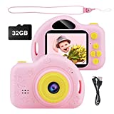 Kids Camera, Digital Video Camera Children Creative DIY Camcorder with Rechargeable Battery Birthday / Christmas / New Year Toy Gifts for 4 5 6 7 8 9 10 Year Old Girls with 32GB SD Card (Pink)