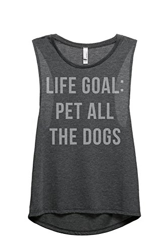 Thread Tank Life Goal Pet All The Dogs Women's Fashion Sleeveless Muscle Tank Top Tee Charcoal Grey -