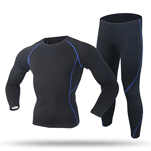 West Biking Men`s Thermal Underwear Set Top & Bottom Fleeced Lined Wicking Crew Neck Wear Alone or Under Cloth