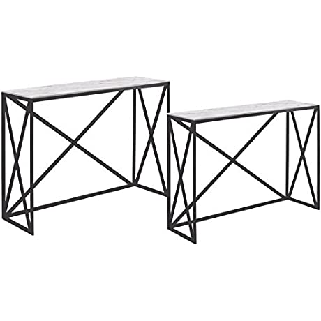 Benzara Nesting Console Table With Marble Top Set Of 2 Gray
