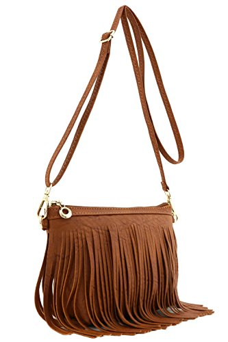- Small Fringe Crossbody Bag with Wrist Strap Tan