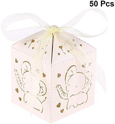 STOBOK Cajas de Caramelos de Papel Hueca para Bombones Dulce Chocolate Cajas de Regalo para Bautizo Decoraciones del Regalo de Cumpleaños 50 Piezas con Patron de Elefante (Beige): Amazon.es: Hogar