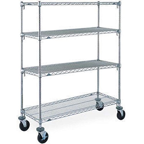 Super Adjustable 2 Super Erecta A366 4-Tier Stem Caster Cart, 18 in x 60 in x 69 in, 150 lb, CHROME-PLATED, Poly - Plated Chrome Casters Stem