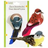 Full case of 36 feathered colorful Floral Garden Decorative Birds 6 different colors (36, Standard)