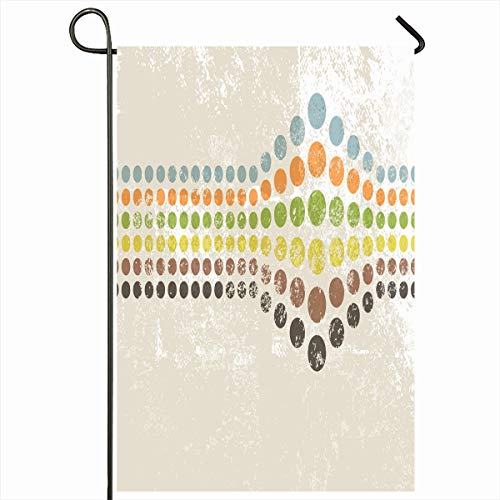 Ahawoso Outdoor Garden Flag 12x18 Inches Cream Spotted Beige 60S Abstract Retro Dots Pattern Circle Vintage Brown Light 70S Seasonal Double Sides Home Decorative House Yard Sign