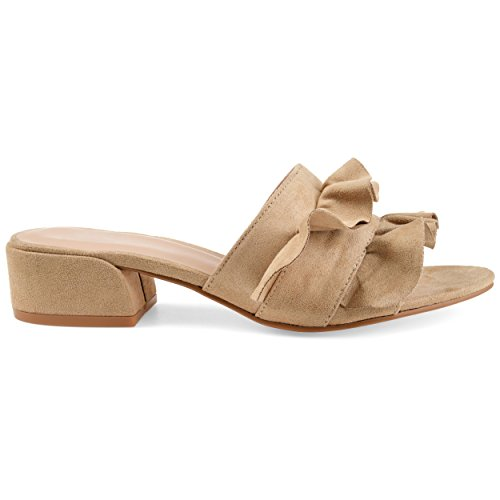 Brinley Co Womens Salest Ruffle Faux Suede Slide-On Mules Nude