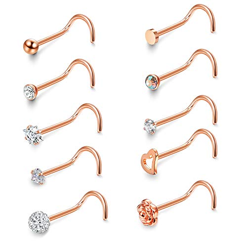 JOERICA 6 Pcs 20G Stainless Steel Screw Nose Studs Rings CZ Body Jewelry Piercing Rose-Gold