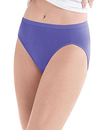 Hanes Women's 10 Pack Cotton Hi Cut Panty, Assorted, Size 8