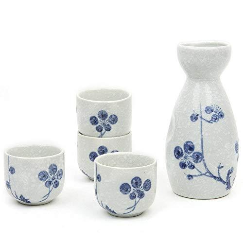 Sake Set,5 PiecesTraditional Japanese Sake Cup Set Hand Painted Design Porcelain Pottery Ceramic Cups Crafts Wine Glasses (Blue plum)