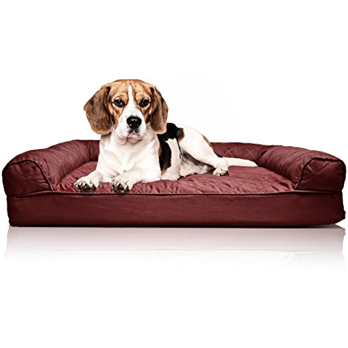 FurHaven Pet Dog Bed | Orthopedic Quilted Sofa-Style Couch Pet Bed for Dogs & Cats, Wine Red, Medium ()