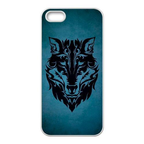 Wolf Face 003 coque iPhone 4 4S cellulaire cas coque de téléphone cas blanche couverture de téléphone portable EOKXLLNCD20758