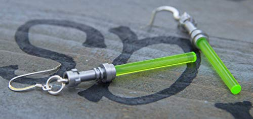 Star Wars Lightsaber Handmade Earrings STERLING SILVER Hooks green Yoda Jedi Light Saber Star Wars for Teen Girls and Women -
