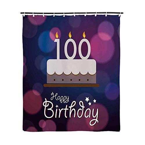 (100th Birthday Decorations Fashionable Shower Curtain,Cartoon Print Cake and Candles on Abstract Backdrop Image for Bathroom,72''L x 59''W )