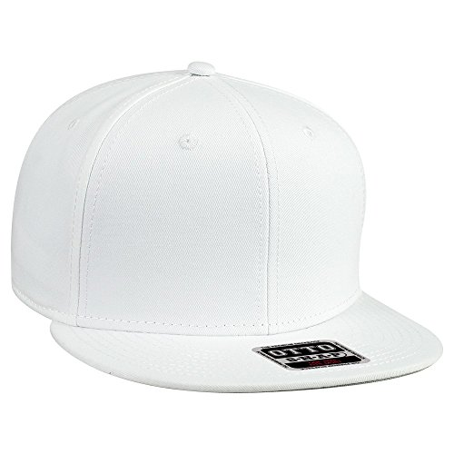 OTTO SNAP Cotton Twill Round Flat Visor 6 Panel Pro Style Snapback Hat - White