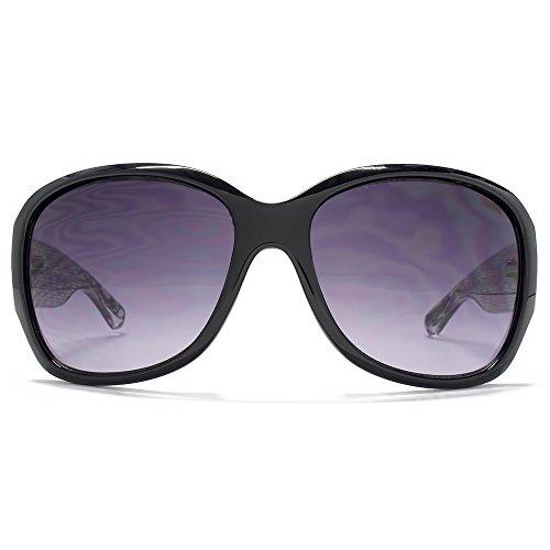 SUUNA Florence dans le Temple dimpression dentelle noir, les lunettes de soleil carré glamour SUU116 Gradient Grey