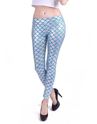 HDE Women Shiny Mermaid Leggings Liquid Wet Look Fish Scale Metallic Tight Pants (Blue, Large) -