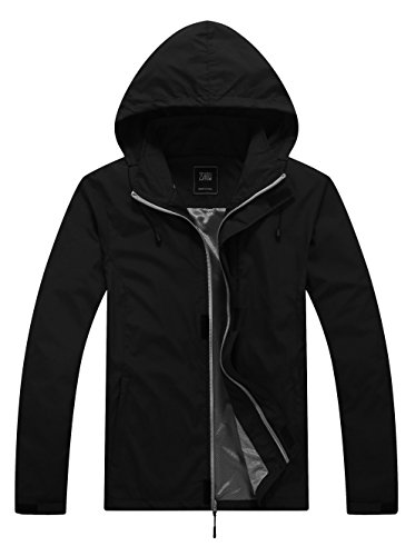 ZSHOW Men's Windproof Water and Sand Repellent Outer Jacket Quick Dry Lightweight Skin Coat(Black,Small)