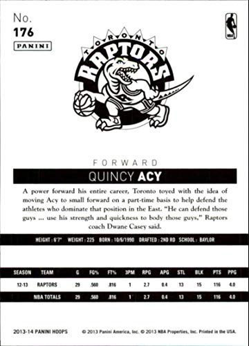 49984dd2293a Amazon.com  2013-14 NBA Hoops  176 Quincy Acy Toronto Raptors Official  Basketball Card made by Panini  Collectibles   Fine Art