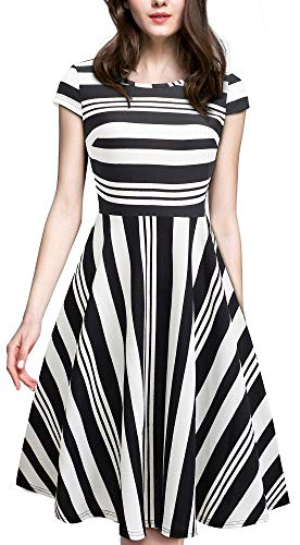 HOMEYEE Women's 1950s Vintage Elegant Cap Sleeve Swing Party Dress A009(6,Stripes)
