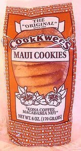 Maui Cook Kwees Kona Coffee Macadamia Nut Cookies 4 Bags with Hawaiian Style Insulated Lunch Bag