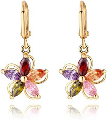 IPINK Top 18K Gold Plated Crystal Flower Dangle Charm Earring