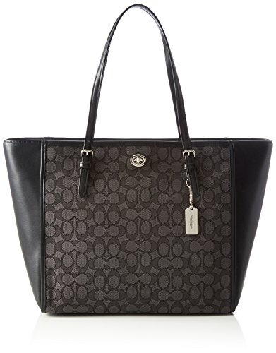 (Coach Ladies Large Leather & Canvas Tote Handbag 36932)