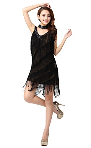 ZX Z&X Women's Beaded Deep V 1920s Gatsby Fringed Flapper Latin Dance Dress One Size (1920s Halloween Ball)