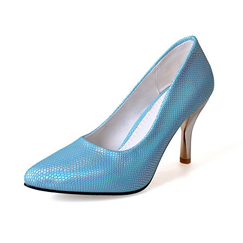 Allhqfashion Dames Solide Zacht Materiaal Kitten-hakken Pull-on Dichte Spitse Pumps-schoenen Blauw