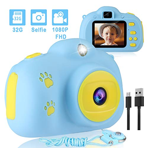 AIMASON, Kids Camera 1080P 3inch Blue with 32GB SD Card
