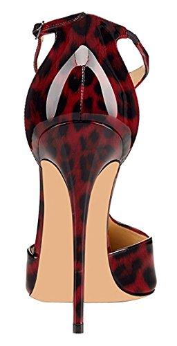 Tacco Col T Rosso con Scarpe Scarpe Alla Strap Tacco elashe Donna 12cm Donna Caviglia Scarpe Cinturino da Leopard wZIRq0