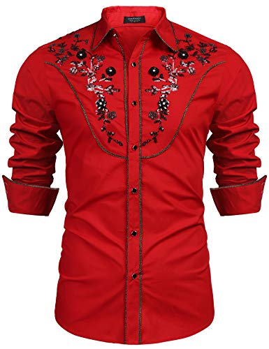 COOFANDY Men's Stylish Embroidery Sequin Design Long Sleeve Button Down Party Shirt,Red,X-Large