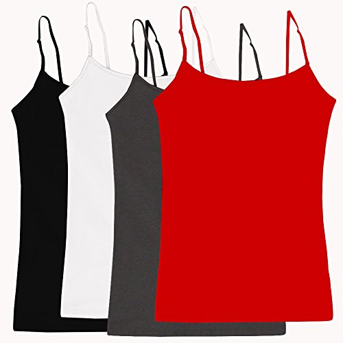 Simlu Women's Camisole Built-in Shelf Bra Adjustable Spaghetti Straps Tank Top Pack 4 Pk Black White Charcoal Red Large