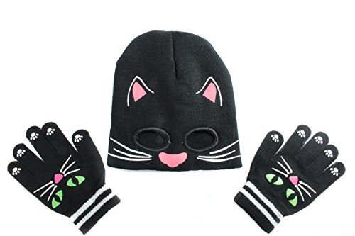 [Youth Cold Weather Knit Monster Hat Mask and Glove Set (Kitten)] (Kitten Bear Costume)