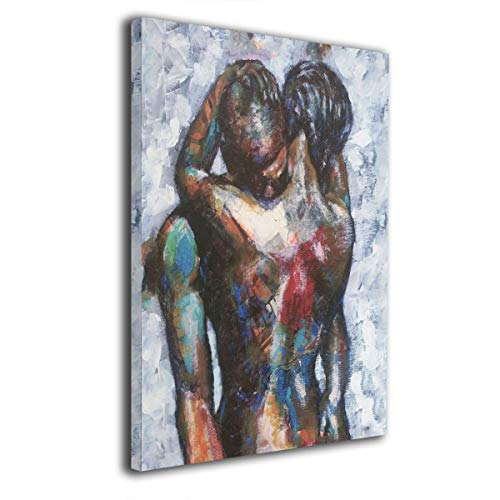 (Okoart Canvas Wall Art Prints African American Lover Hug Tight -Picture Paintings Contemporary Home Decoration Giclee Artwork-Wood Frame Gallery Wrapped 16