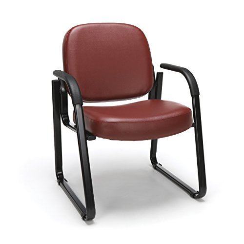 OFM Reception Chair with Arms - Anti-Microbial/Anti-Bacterial Vinyl Guest Chair, Wine (403-VAM) (Reception Leather Faux)