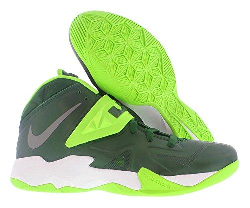 Nike Hommes Zoom Soldat Vii Tb Lebron James Basketball Chaussures Gorge Vert / Métallique Argent-électrique Vert
