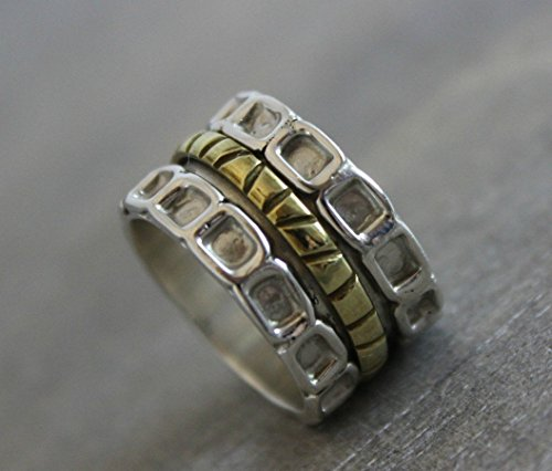 Sterling Silver Patterned Mixed Metal Brass Bohemian Spinning Fidget Ring size 8
