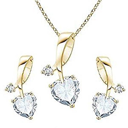 Lilu joyas blanco forma de corazón colgante de circonita para collage las niñas con 14K chapado en oro plata de ley 925