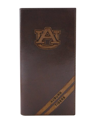 NCAA Auburn Tigers Zep-Pro Pull-Up Leather Long Secretary Embossed Wallet, Brown Auburn Tigers Leather Football