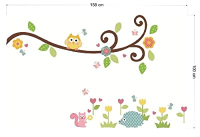 Design Squirrel Owl Removable Vinyl Decal Wall Stickers Nursery Babys Room Decor