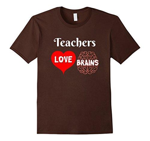 Mens Teachers Love Brains Cute Halloween Gift for Teachers XL Brown