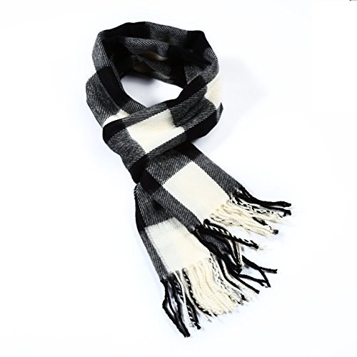 Buffalo Plaid Wool (Luxuriouse Soft Wool Touch Tassel Ends Scarf (Buffalo Plaid Black and White) One Size)